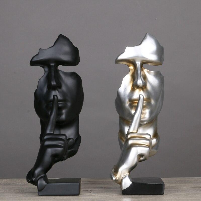 Résine abstraite artisanat Figurines Sculptures décoratives cadeaux de noël modèle humain visage avec main décor à la maison Casted Figure vente