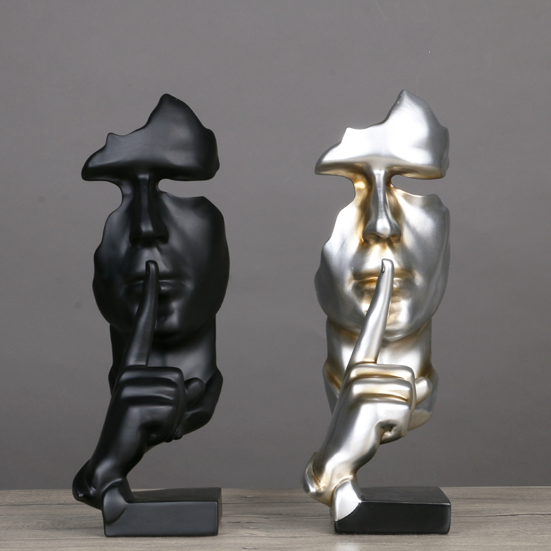Resin Abstrak Craft Figurines Patung Hiasan Hadiah Krismas Model Wajah Manusia Dengan Perhiasan Tangan Tangan Dipasang Jualan Rajah