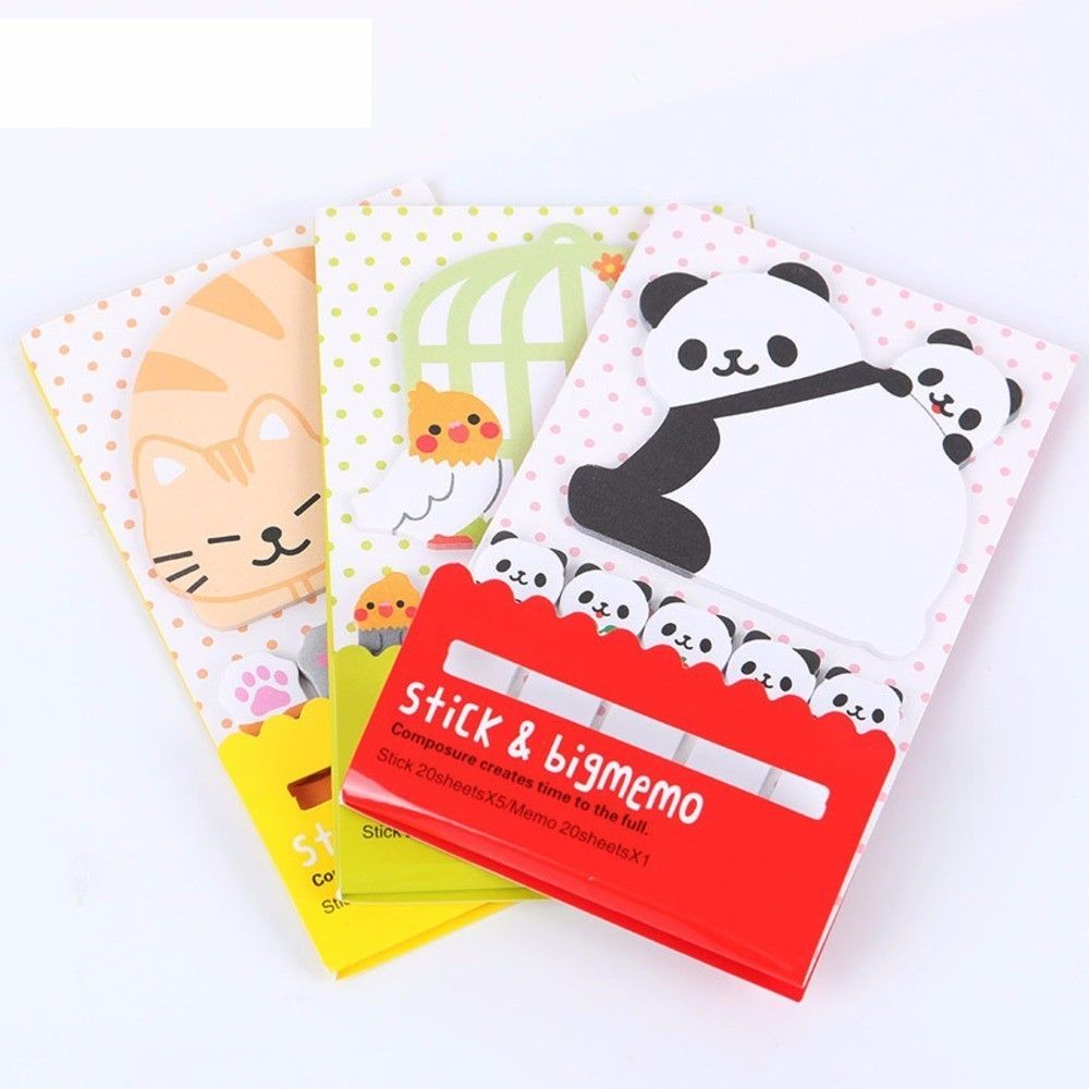 BP2PCS Cute Korea Sticker Animal Cat Panda Memo Pad Notepad Bookmark Memo Flags Tab Sticky Notes Stationery Office WJ-SMT108 page flags green 50 flags dispenser 2 dispensers pack