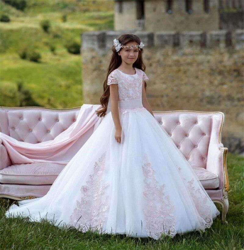 Платье с цветочным узором для девочек на свадьбу, с бантом и пуговицами, с аппликацией, торжественное платье для девочек, с короткими рукава