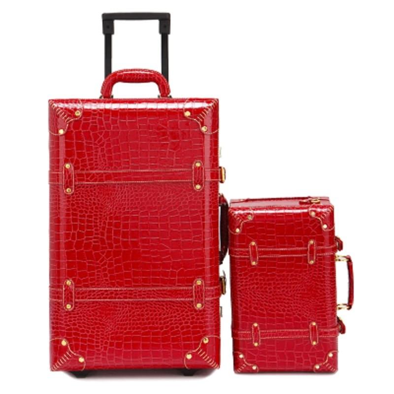 BeaSumore rétro PU cuir roulant bagages ensemble Spinner sac à main femme valise roue chariot Vintage femmes cabine voyage sac-in Ensembles de bagages from Baggages et sacs    1