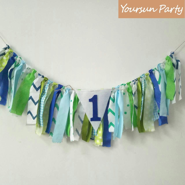 Tropical Forest Inspired Birthday Party Highchair Buntings Baby Boy First Year Sign Banners Green And Blue Color Shade Props