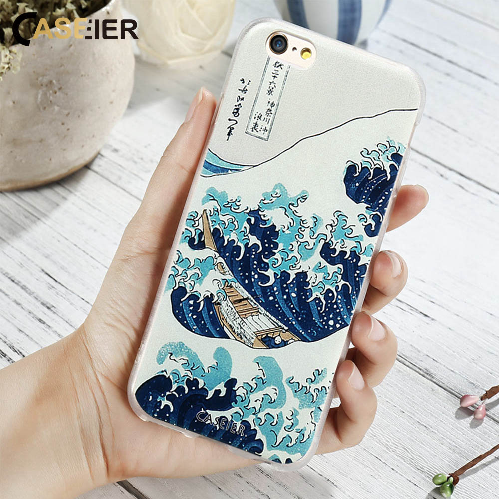 Caseier Case For I Phone X 6 6s 7 8 Plus 5 5s Se Cases Luxury Silicone Cover For Samsung S8 Plus S6 S7 Edge Note 8 Kanagawa Wave  by Caseier