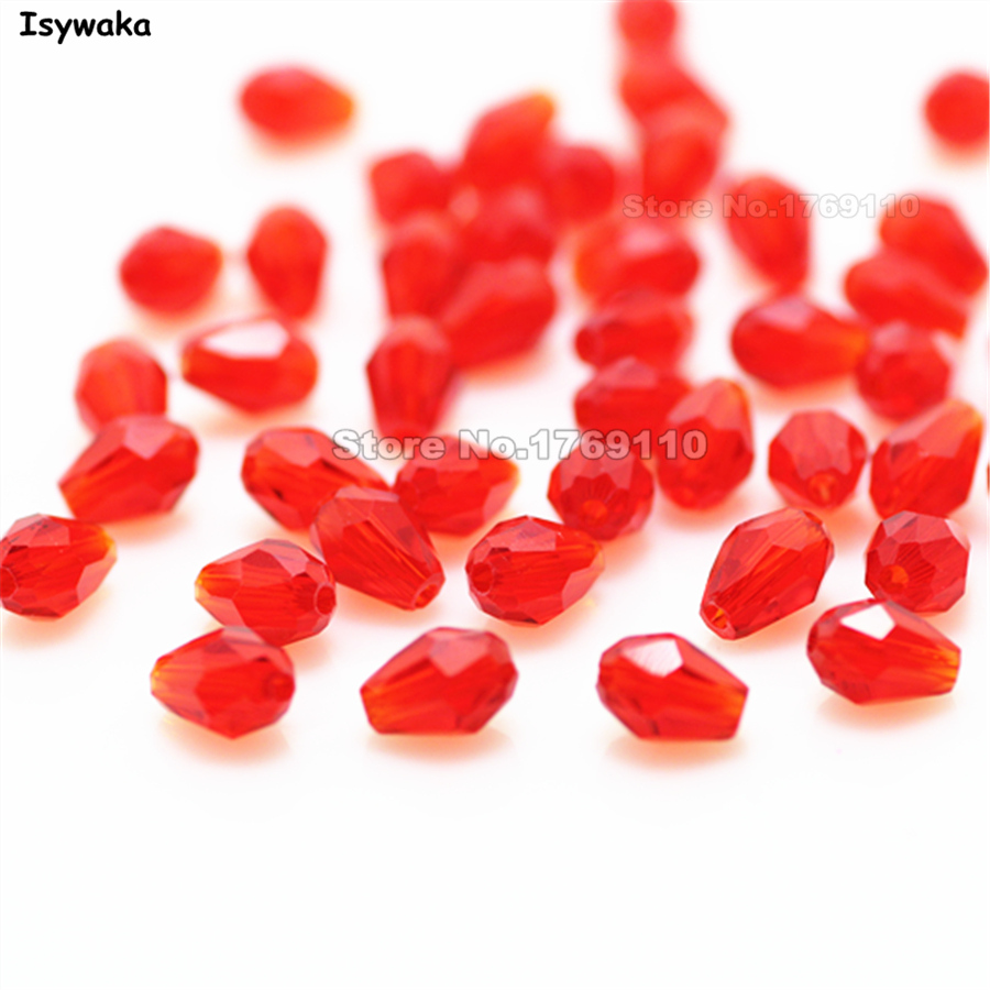 Isywaka 70pcs Red Color 4*6mm Faceted Teardrop Bead Austria Crystal Bead charm Glass Bead Loose Spacer Bead For Diy Jewelry