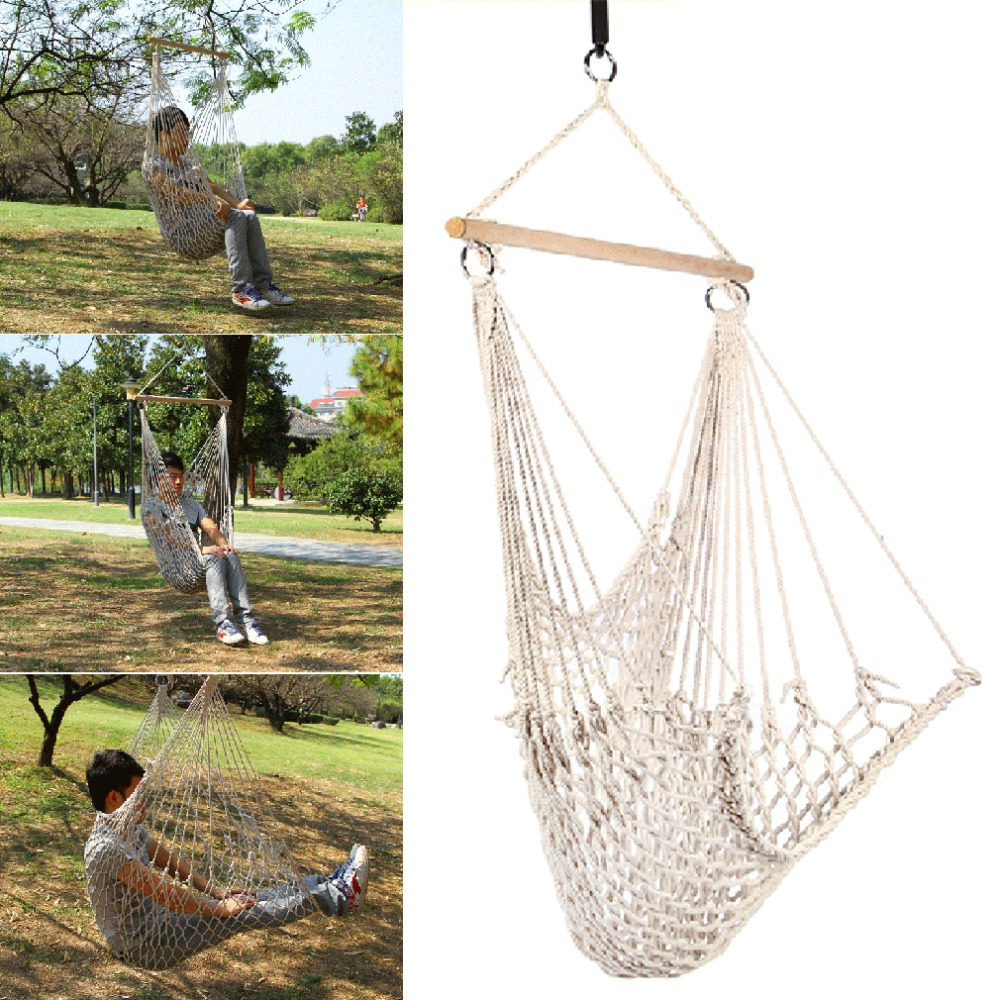 kids adults cotton rope net outdoor swing seat hanging patio garden chair free