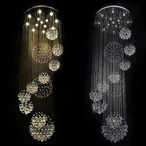 Image 4 - Yeni modern öğe Dia800 * H3000MM büyük modern otel avize kristal merdiven ışık
