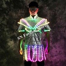 LZ12 Бальные Танцы LED костюмы световой Мужская робот Танцы костюм бар DJ костюм певица этап носит Одежда LED Вечерние show LED