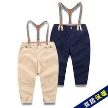 Children's clothing boy double leisure trousers joker suspenders 2016 baby pure color interlining to keep warm trousers