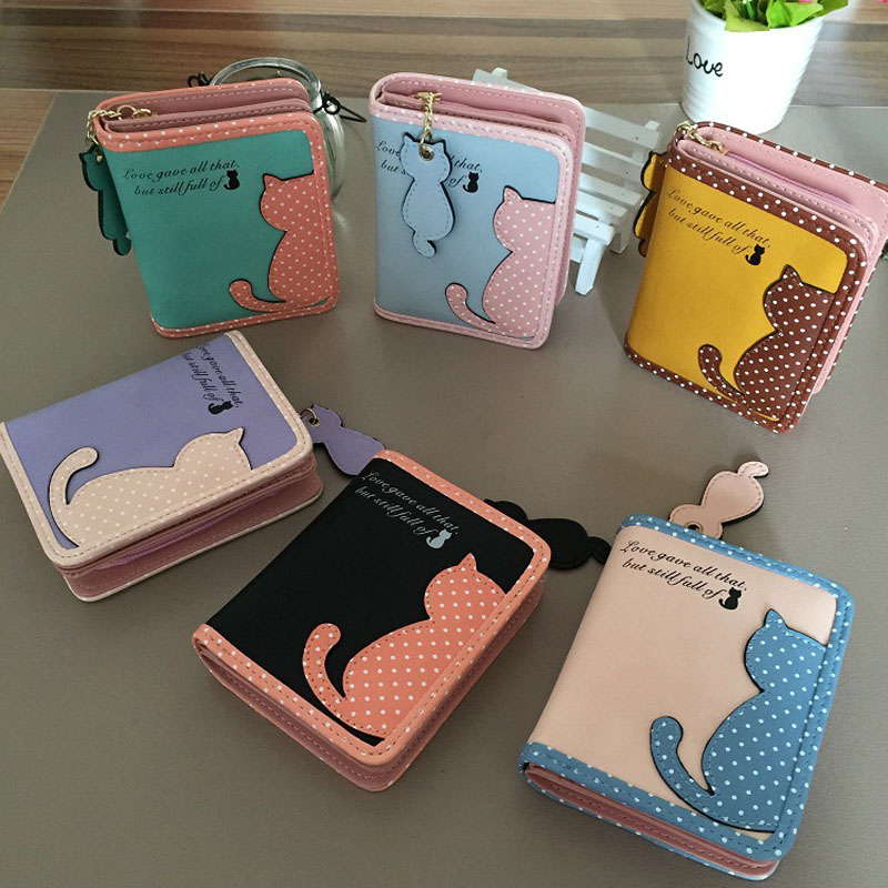 Fashion Small Wallet Women Short Luxury Brand Cute Female Purse PU Leather Cat Design Girls Lady Zipper Wallets Card Holder Bags 12