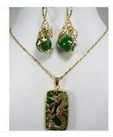 KOSTENLOSER VERSAND>> Charming Grüne stein Drachen Anhänger halskette ohrring set AAA GP uhr Quarz stein kristall Natu