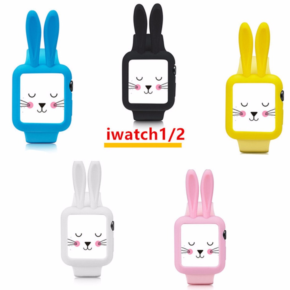 Silicone cover case for Apple Watch 42mm/38mm Cute cartoon Mouse ears Colorful Soft protective watch case For iWatch series 2/1