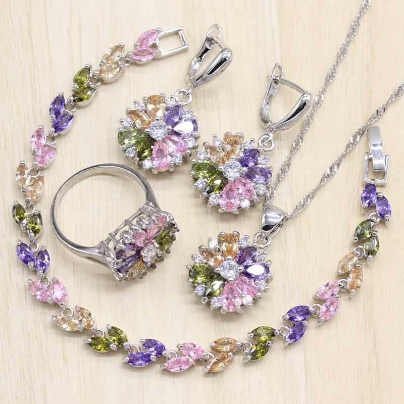 Joias de cor prata, conjunto de pedras multicoloridas de zircônia cúbica, brincos femininos, pingente, colar/anel pulseira,