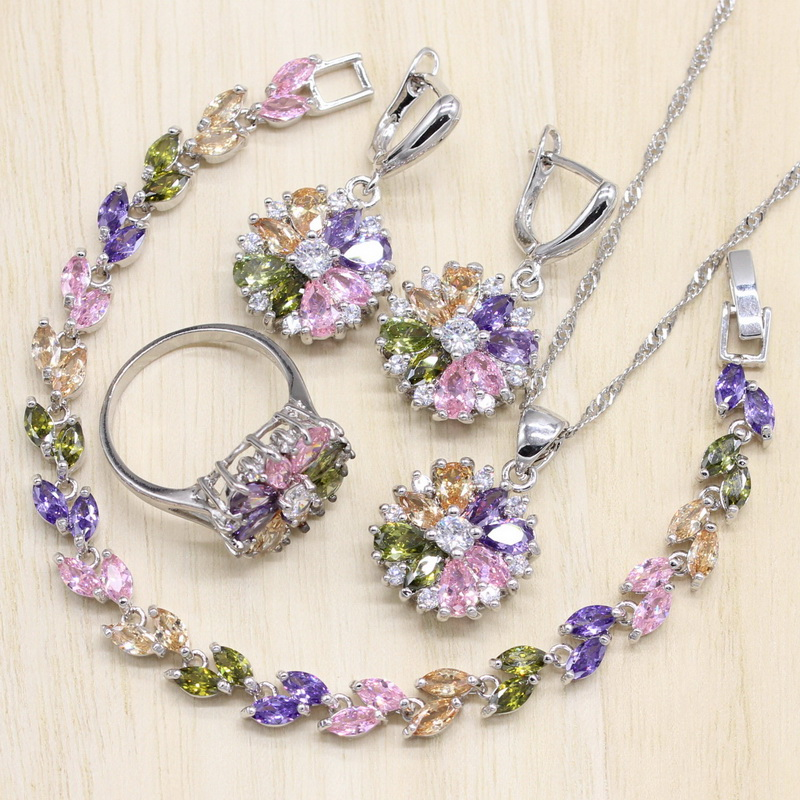 Silver Color Jewelry S Multicolor Stones Cubic Zirconia Jewelry Sets For Women Earrings/Pendant/Necklace/Ring/Bracelet