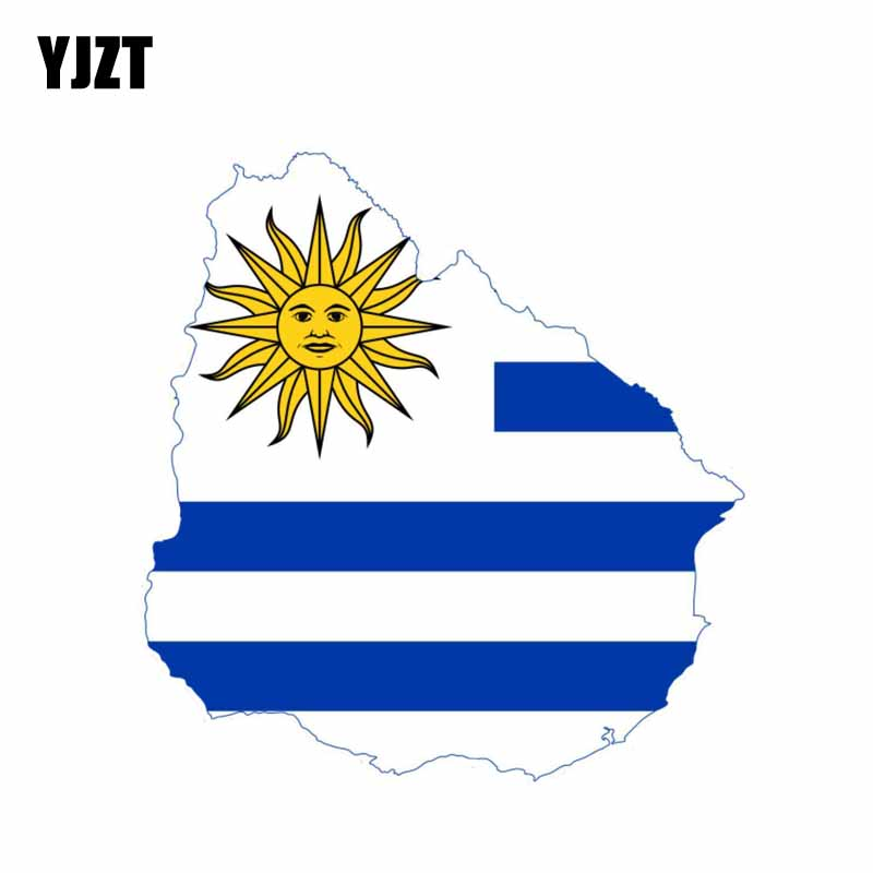 YJZT 13.8CM*14.3CM Creative Body Flag Decal Uruguay Map Motorcycle Car Sticker 6-0855