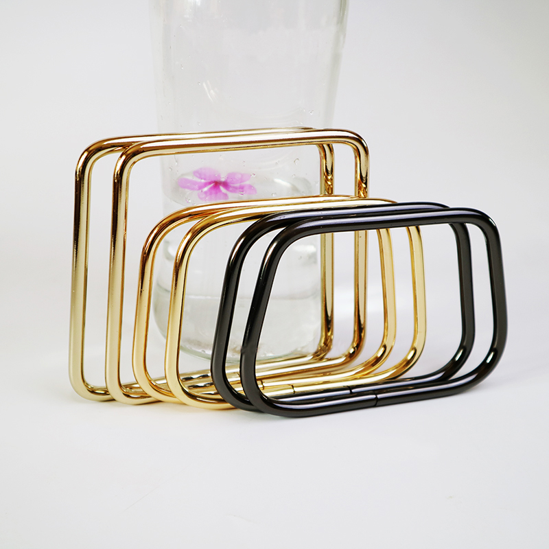 10PCS 2 Size Round edge Non Welded Alloy Material Light gold Gun metal Trapeziform shaped ring for ladies bags handbags handle