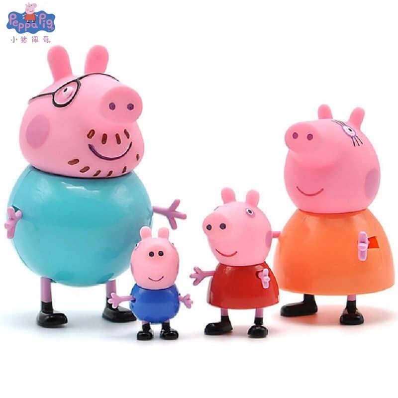 4 pçs peppa pig george cobaia família pacote pai mãe figura de ação original pelucia anime brinquedos para crianças presente natal