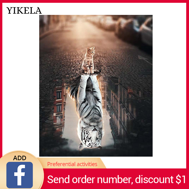 YIKELA Full Square Drill 5D DIY Diamond Painting Animal cat Embroidery Cross Stitch Home Decor Gifts Wall Stickers