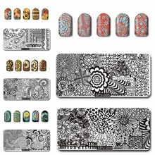 1PC Nail Printing Stamp Plates Rectangle Stainless Steel DIY Nail Art Tool Polish Print Manicure Nail Stamping Template Plates недорого