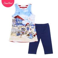 2017 Fashion Brand Domeiland Summer Children Clothing Outfits Kids Cotton Cute Print Cartoon Sleeveless Vest Girls