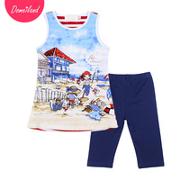 2017 Fashion Brand Domeiland Summer Children Clothing Outfits Kids Cotton Cute Print Cartoon Sleeveless Vest Girls