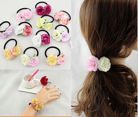 2016 new fashion women girls double flowers silk flower hair ring 2016 new fashion women girls double flowers silk flower hair ring hair rope hair accessories bohemian flower hair tie band in hair accessories from womens mightylinksfo