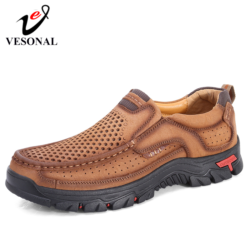 VESONAL Brand 2019 Classic Genuine Leather of Men Shoes Breathable Mountaineering Outdoors Casual Male Shoes Quality
