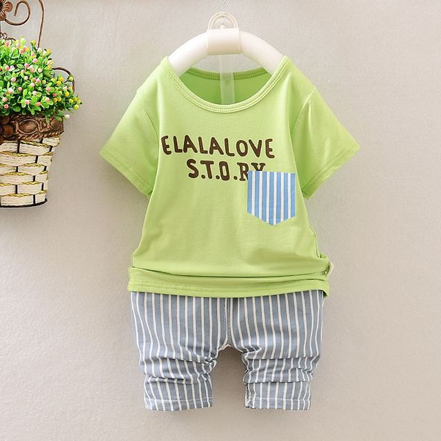f76d743b 2019 New Kids Summer boys and girls short t-shirt + pants 2 pcs sets  children's clothes 0-1-2-3-4 half years old