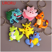 URORU 3D POKEMONGO Mini Anime Charmander Squirtle Vulpix Ir Detentor da Chave Do Anel Chave Keychain Monstros Pikachu Eevee Pingente(China)