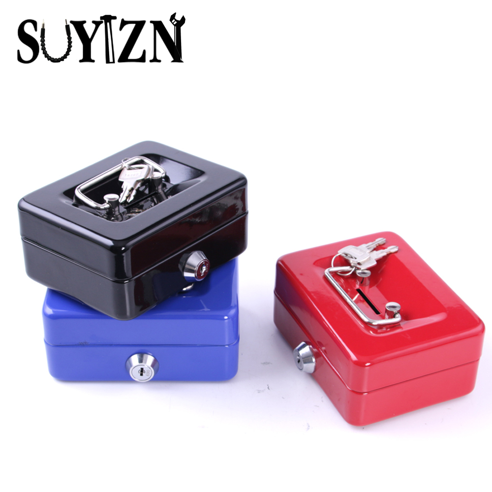 Cash box safe small coin piggy piggy bank metal saving for How to open a tin piggy bank