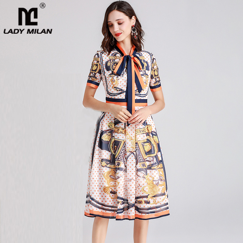 2019 Women s Runway Dresses Bow Collar Long Sleeves Vintage Printed Striped High Street Elegant Casual