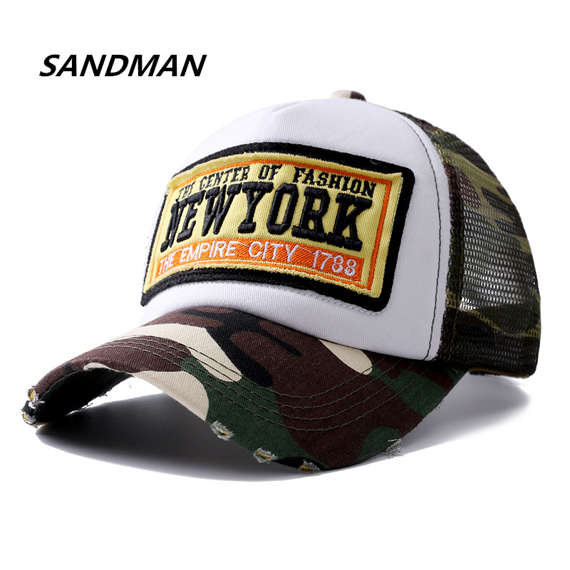 SANDMAN New York Embroidery Summer Mesh Baseball Cap Women Outdoor Camouflage Hats For Men Snapback Bone Hip Hop Dad Hat