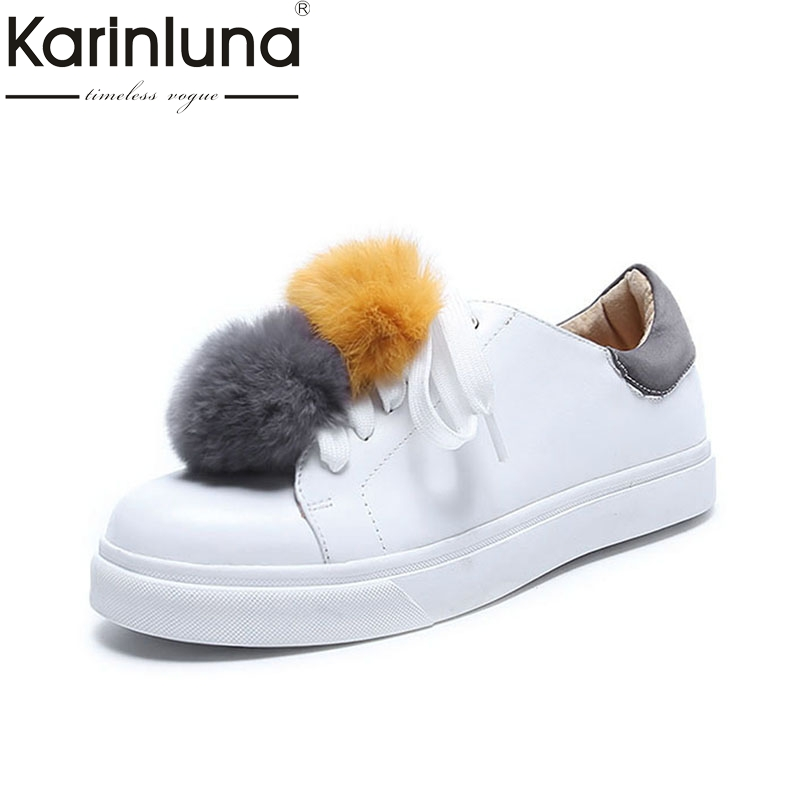 Karinluna 2018 Size 33-40 Genuine Leather Spring Flats Shoes Woman White Casual Loafers Women Shoes Footwear ladies leisure casual flats shoes patent leather lady loafers sexy spring women shoes brand footwear shoes size 33 48 p16177