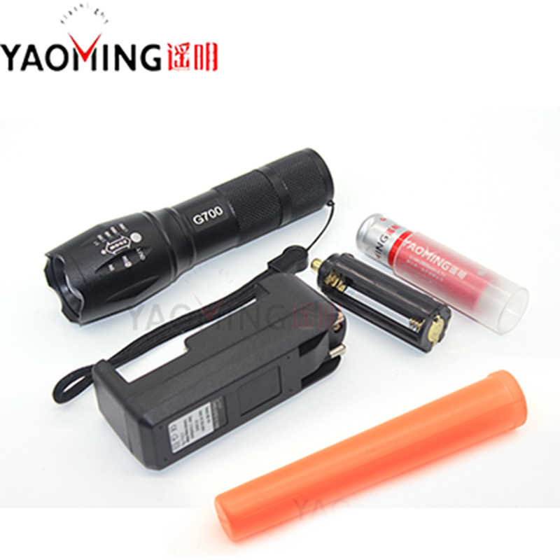 Cree xm-l t6 led 10w rechargeable directing traffic wand flashlight zoomable torch lamp police flash light+18650 battery+charger singfire sf 611c 600lm zoomable big lamp rechargeable headlight w cree xm l t6 charger battery