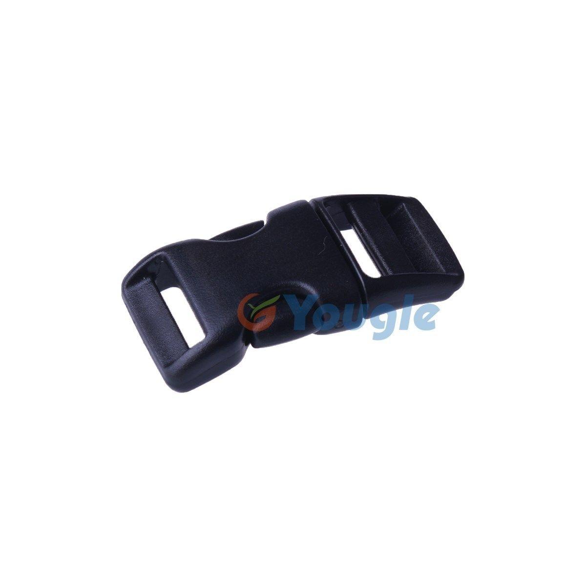 YOUGLE 10 Pieces 3/4'' Webbing Paracord Bracelet PLASTIC BUCKLE Side Released Black/Khaki