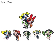 Patchfan The Powerpuff Girls Embroidered Iron On Patches Badges Patchwork Sewing Applique Jacket Backpack stickers A1470
