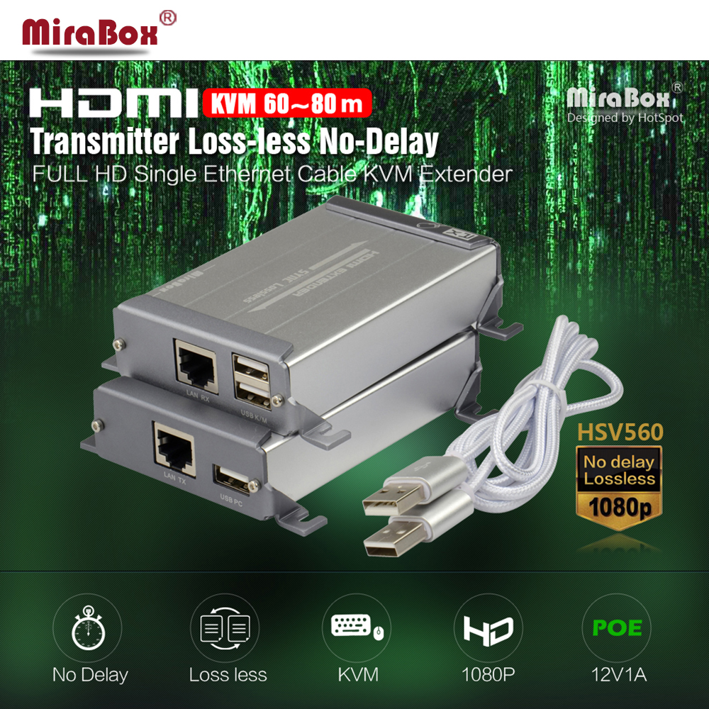 Mirabox HSV560 HDMI Extender over cat5/cat5e/cat6/cat6e support 1080p and KVM lossless non-delay POE with keyboard control hsv379 hdmi extender over coaxial cable with a v lossless and no time delay tnc top up to 300 meters support full hd