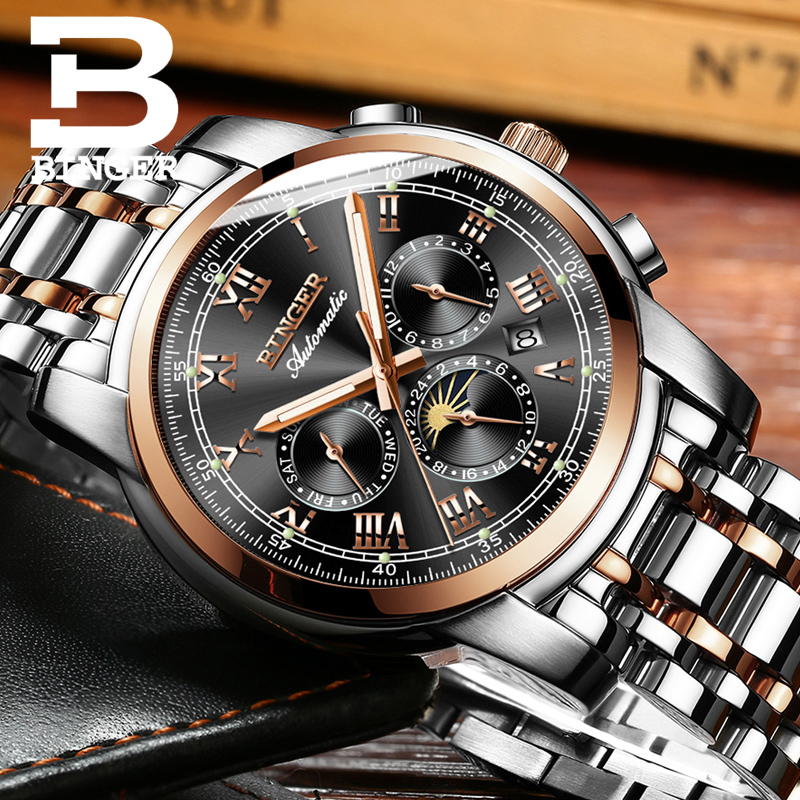 Brand Cool Workable 3 Eyes Men Automatic Watches Self Winding Full Steel Watch Vintage Roman Calendar Wristwatch Waterproof 3bar-in Mechanical Watches from Watches    1