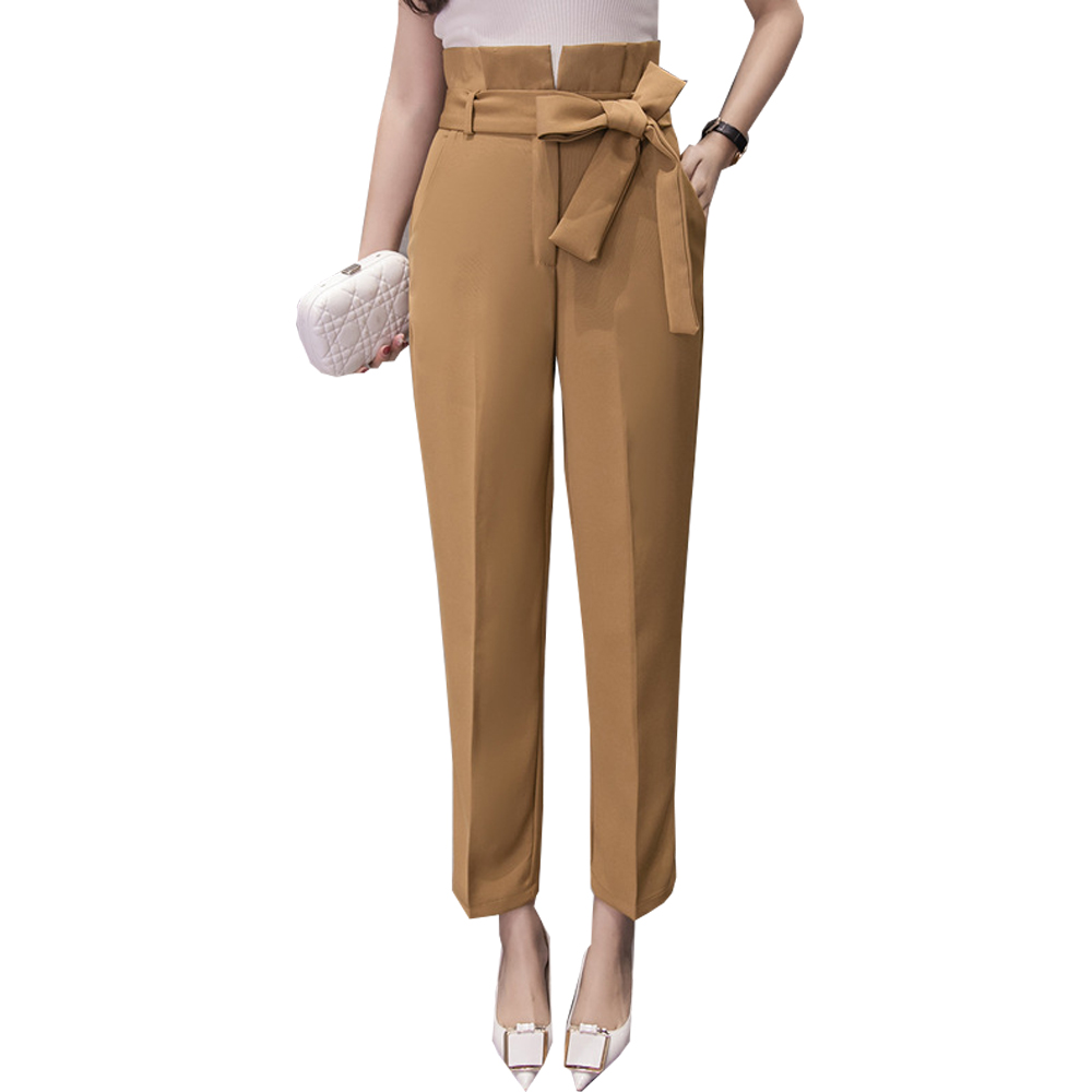 2018 New Summer High Waist Wide Leg   Pants   Women Bow Pocket Loose Trousers Thin Khaki Black   Pants   Office Woman Belt   Capri     Pants