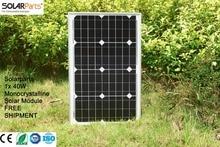 Solarparts 1x 40W Monocrystalline Solar Module by Mono solar cell factory cheap selling 12V solar panel