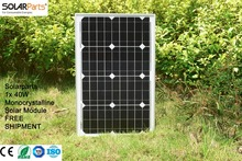 Solarparts 1x 40W Monocrystalline Solar Module by Mono solar cell factory cheap selling 12V solar panel for RV/Marine/Boat use