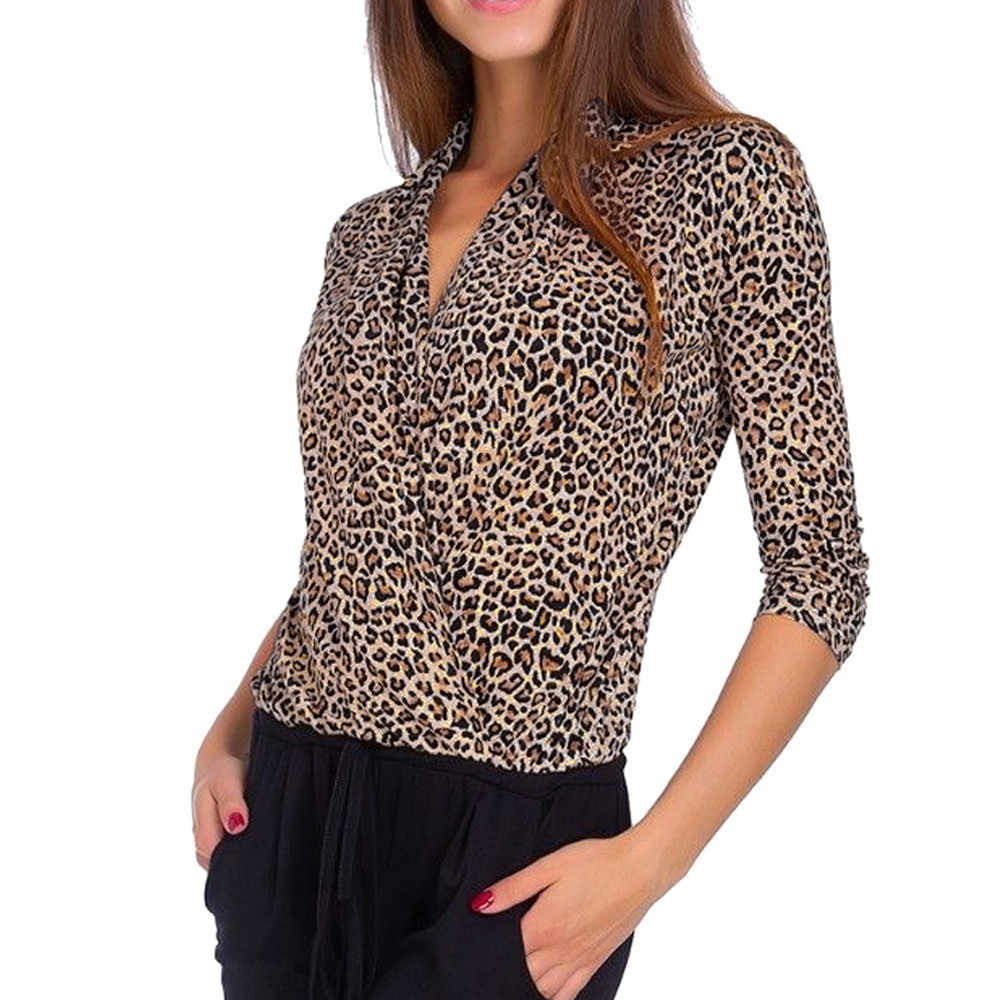db8382977e1a41 Feitong Leopard Print Sexy Blouse 2019 Autumn Fall Women V-Neck Three  Quarter Sleeve Overlap