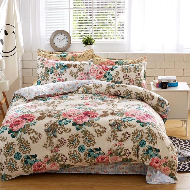 Постельное белье Комплект одежды из хлопковой ткани реактивной печати Лидер продаж одеяло набор Queen полный размер 4 шт.