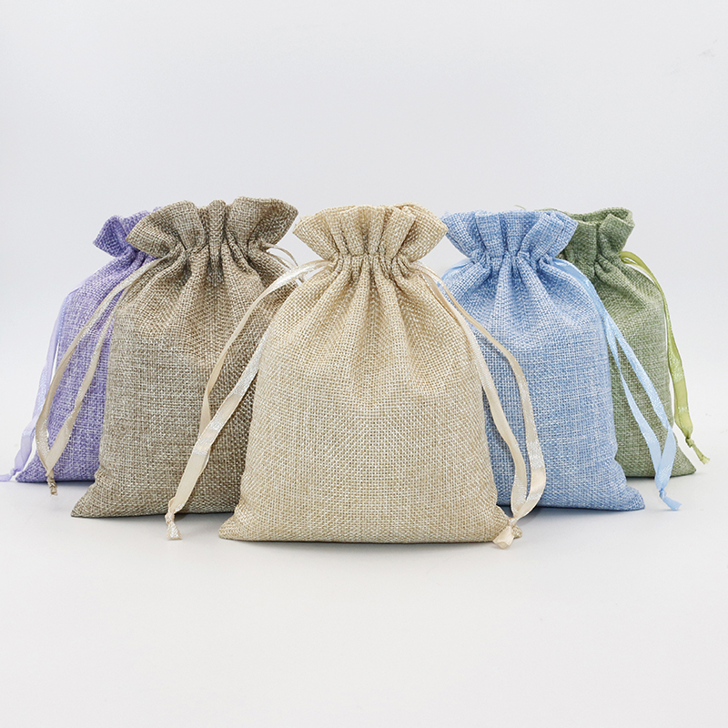 5PCS Linen Cotton Drawstring Gift Pouch Bag Lavender Green Natural Color Adjustable Jewelry Packing Bags