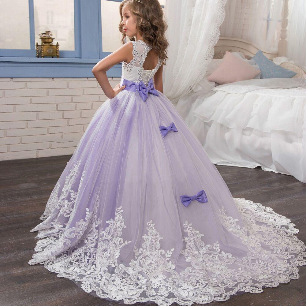 Image 2 - Surferfish Childrens princess dress girls wedding dress Lace  Heart Back Halter Bows Long Party Ball Valentines Day DressDresses