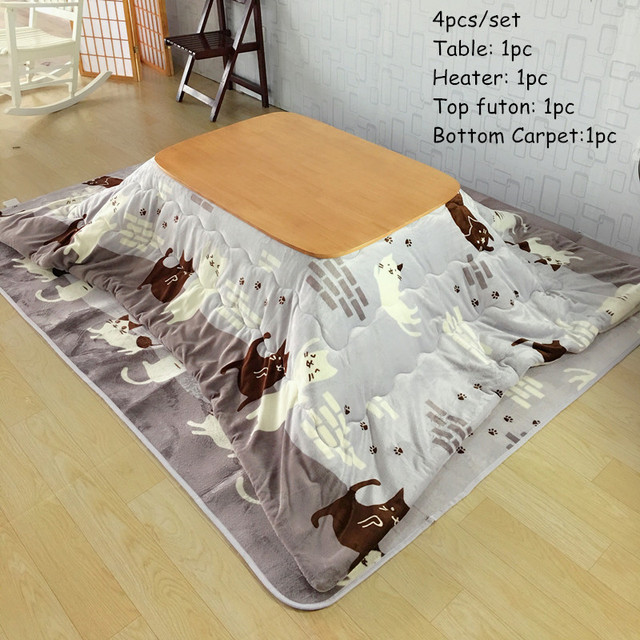 4pcs Set Solid Wood Table Kotatsu 1 2 Futon Heater Japanese Style