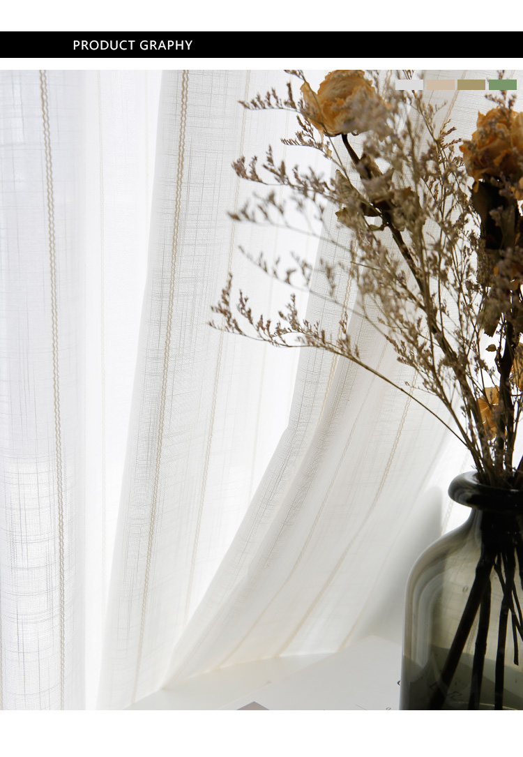 _03 White Tulle Curtains For Livingroom Striped Voile