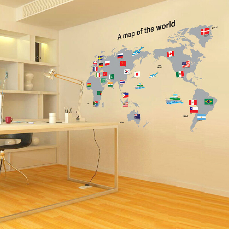 2015 hot sale world map with country flags wall stickers for 2015 hot sale world map with country flags wall stickers for learning studyart words sayings vinyl wall decals national flag in wall stickers from home gumiabroncs Images