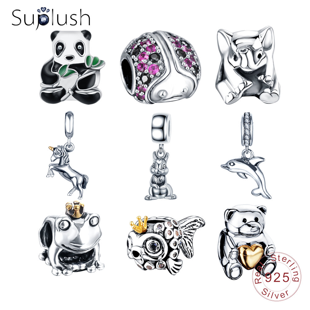 91c071239 Suplush S925 Silver Animals Charms Beads Fit Original Pandora Bracelets  Necklaces Sterling Silver Jewelry DIY Accessories Gift