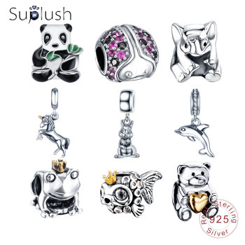 Suplush S925 Silver Animals Charms Beads Fit Original Pandora Bracelets Necklaces Sterling Silver Jewelry DIY Accessories Gift Beads