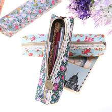 High Quality Mini Retro Flower Floral Lace Pen Bag Pencil Bag School Supplies Makeup Bag Zipper Pouch Purse 1 PC(China)